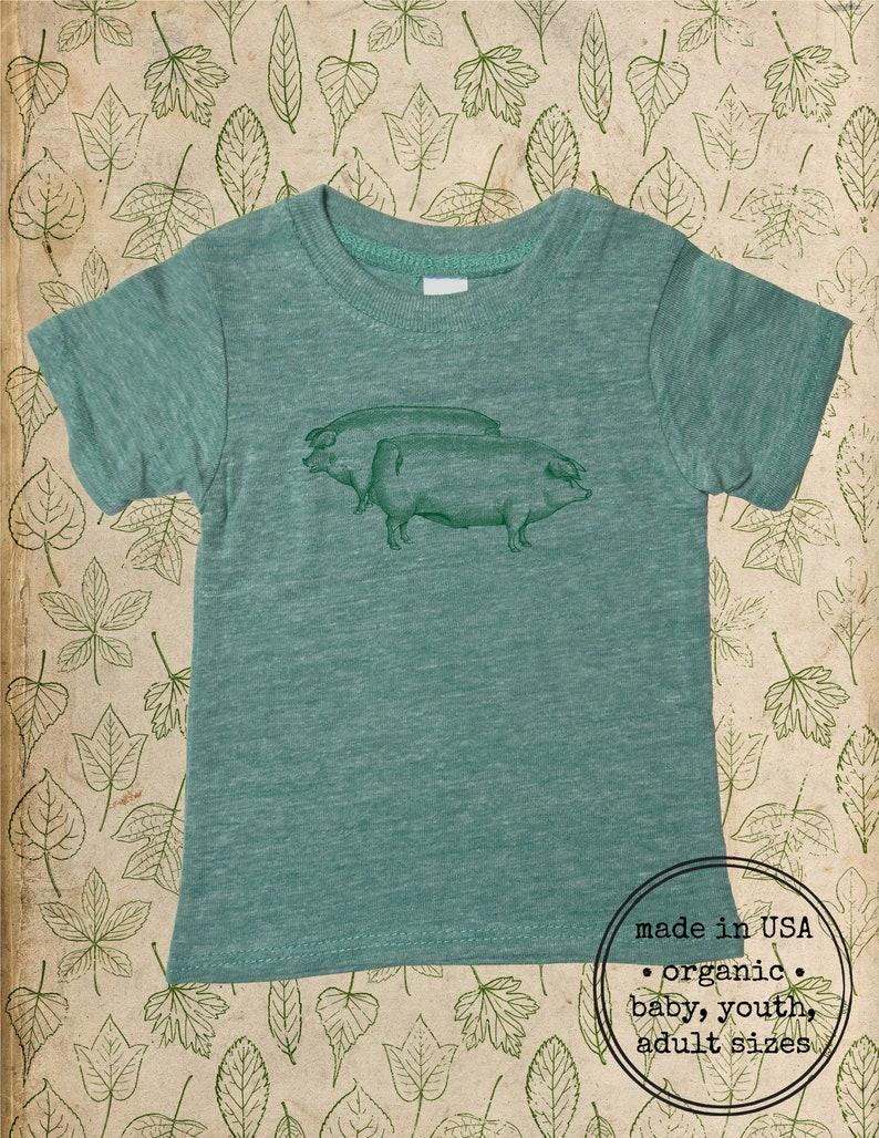 Gift Friendly Made in the USA Organic Farm shirt Boy or Girl Pigs Baby Shower Organic Baby T Shirt Top Tee Organic Infant TShirt