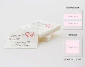 """1.5"""" x 1.5"""" FOLD OVER or FLAT 100% cotton fabric labels, Custom labels, In-seam labels, Sew on labels"""
