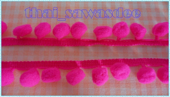 Lemon Yellow Lime Pom Pom Fringe Dangle Trim Bobble Colorful Lace Craft Sewing