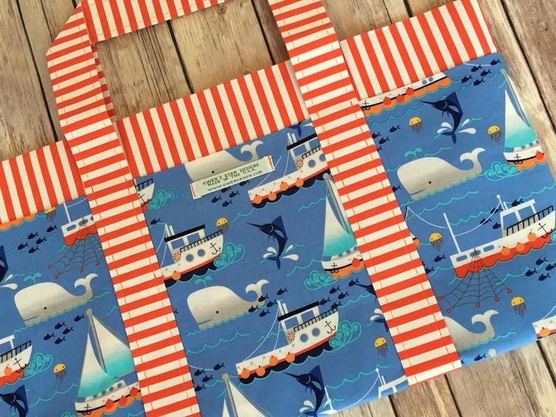Six Pocket Tote Bag in Swim Free Designer Print with FREE image 0