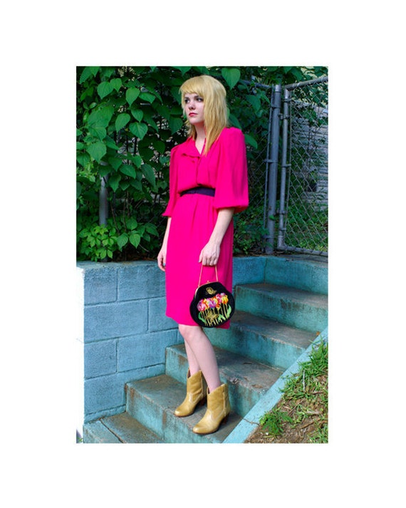 "Vintage ""Leslie Fay"" Hot Pink 80's Chiffon Dress S"