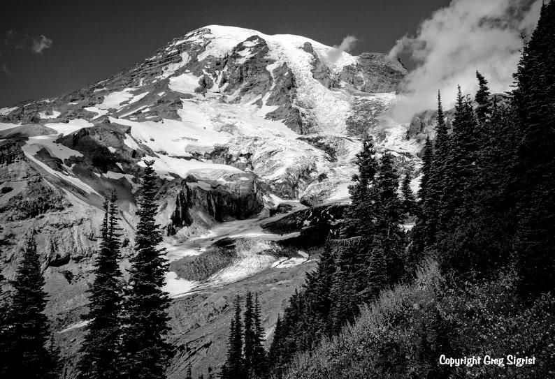 Mt Rainier Very Fine Black and White Photograph Available in 8X10\u201d 11X14\u201d and 13X19\u201d
