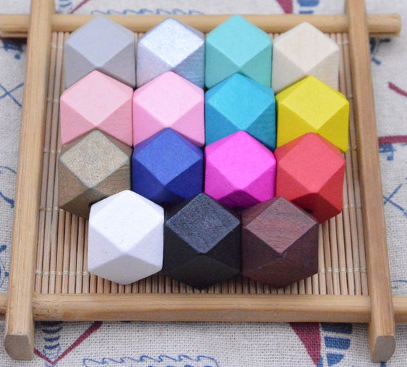 30x Mixed Color Wooden Beads Geometric Beads for Crafts Jewelry Making 20mm