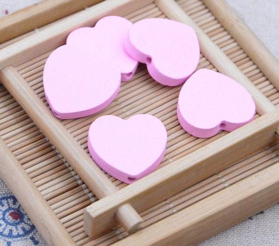 blue wood heart beads 25x24mm 50 wooden beads wooden hearts