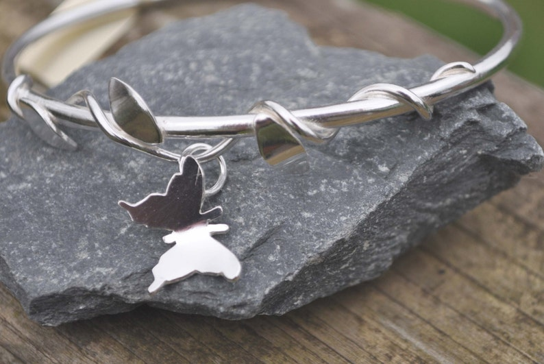 Sterling silver Turners Made in Ireland Northern Ireland 925 silver Silver Bangle Handmade Bracelet Butterfly Vine Irish Jewelry