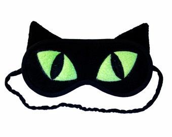 Cat Sleep Mask, Black cat eye mask, Neon green eyes, Animal totem, Animal sleeping eye mask, Cat ears, Cat cosplay costume, Gift for her him