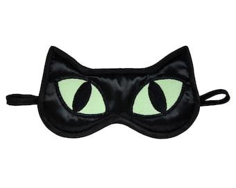 Black Cat Sleep Mask, Cat lover gift, Animal Totem Eye Mask, Black satin catnap eye pillow, Neon celadon sleeping face, Cosplay gift for her