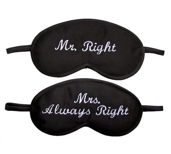 Mr Right Mrs Always Right Sleep Masks Blindfolds Set For 2 Etsy