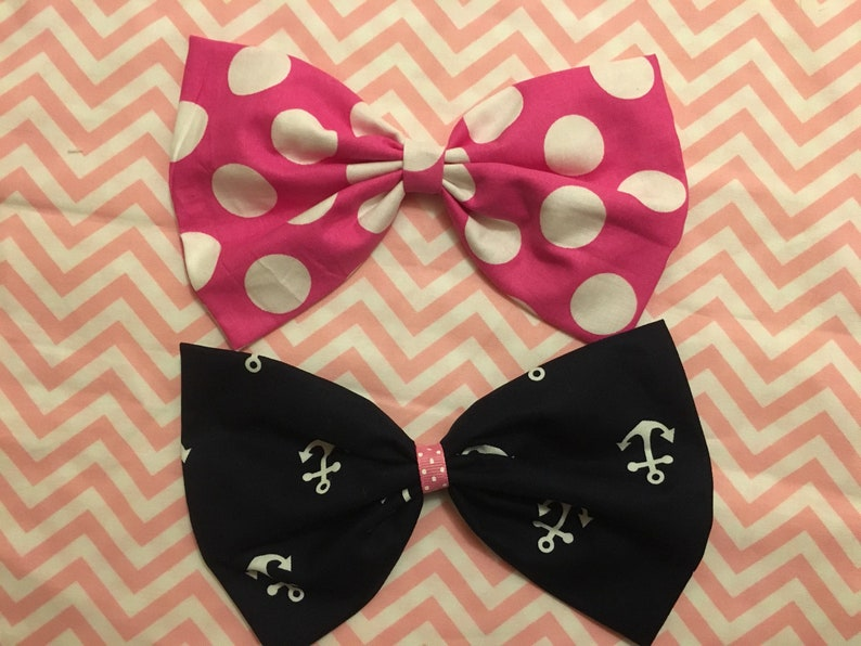 cruise Hairbow 7X4 minnie mouse hairbow Disney Cruise bow is on ALLIGATOR clip large navy anchors bow app Disney hairbow