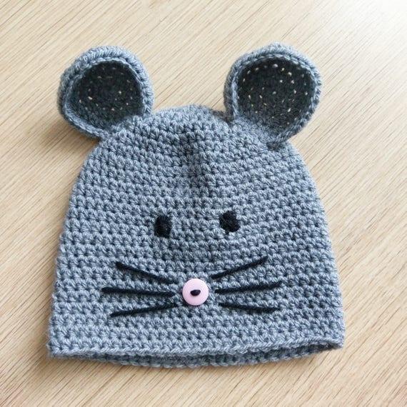 Neugeborenen Maus Hut Baby Maus Mütze Häkeln Häkeln Baby Etsy