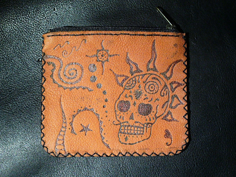 Handmade Red Leather Coin Purse.Mexican Punkalavera