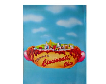 Welcome To Cincinnati Poster Cheese Coney Skyline