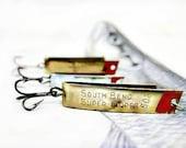 Three Vintage South Bend Super Duper Fishing Lures Treble Hooks