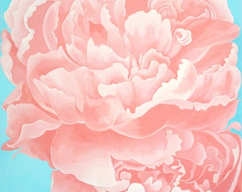 Peony ORIGINAL Painting Large Wall Art Acrylic Painting Floral Painting Pink Flower Contemporary Art Home Decor Spring Garden Art Wood Panel