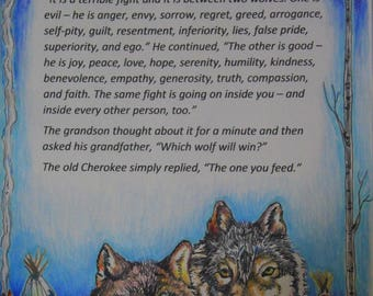Two Wolves hand painted/drawn inspirational card