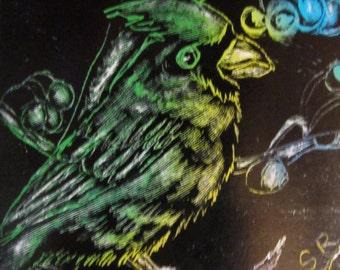 Cardinal multicolor scratch card art