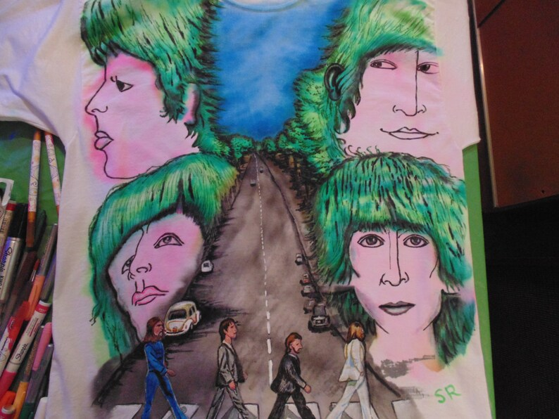 Revolver Abbey Road, hand painted Tshirt, rock and roll music, beetles music