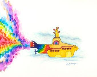 Yellow Submarine Rainbow ooak print