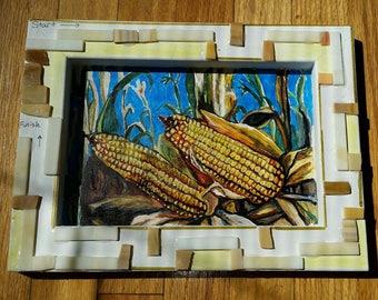 Maize Maze, mixed media, shadow box, framed,  maze, OOAK