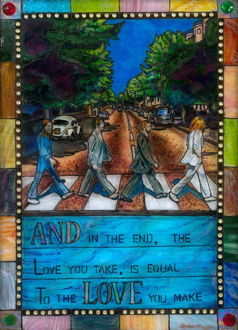 Stained Glass Abbey Rd digital print LTD Edition  ooak art image 0