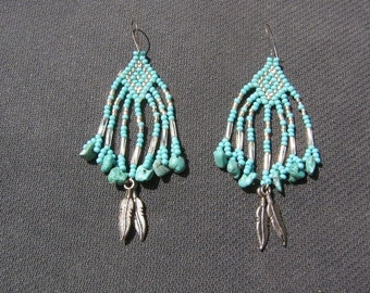South west native american style silver turquoise beaded earrings