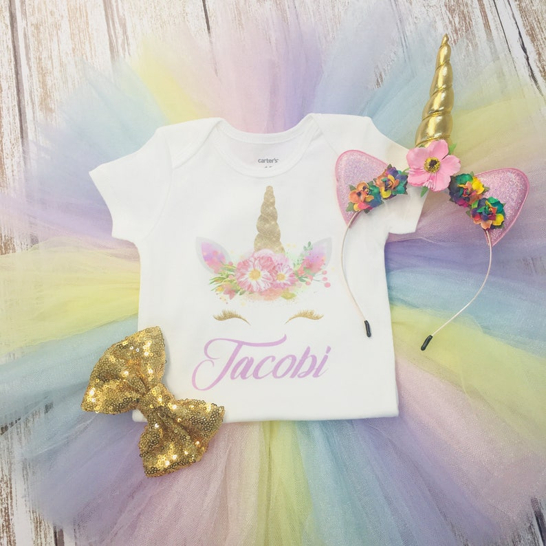 b71c90d02e99 Unicorn Birthday Outfit. Unicorn Horn. First Birthday Outfit | Etsy