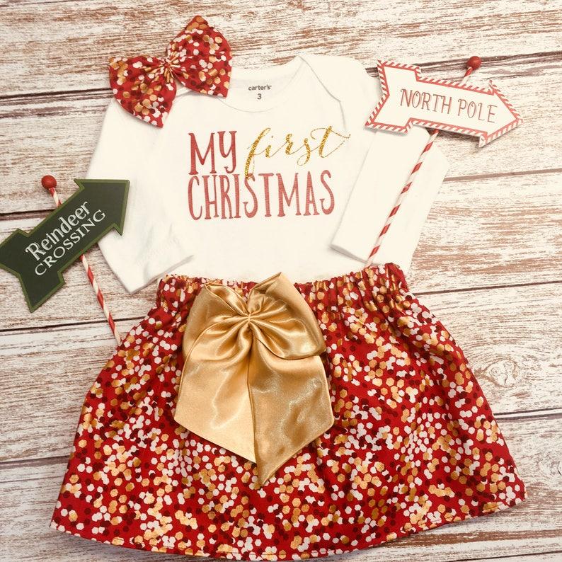 eef6ea62ba3 Baby Girl Christmas Outfit. Holiday Dress. My First Christmas.