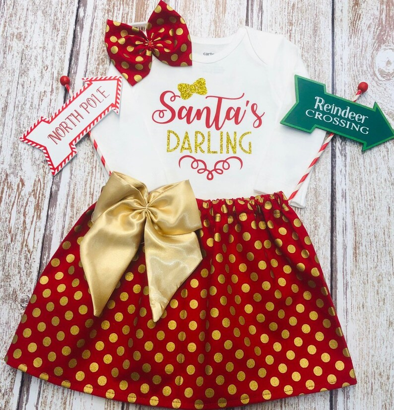 c10098806 Baby Girl Christmas Outfit. Holiday Dress. Santa's | Etsy