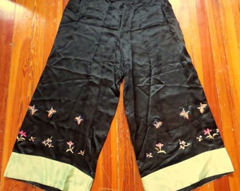 Antique Japanese Silk Satin Embroidered Palazzo Pajama Pants 4315d7e2c