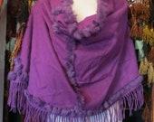 Gorgeous Nordstrom Cashmere Fur Trimmed Shawl