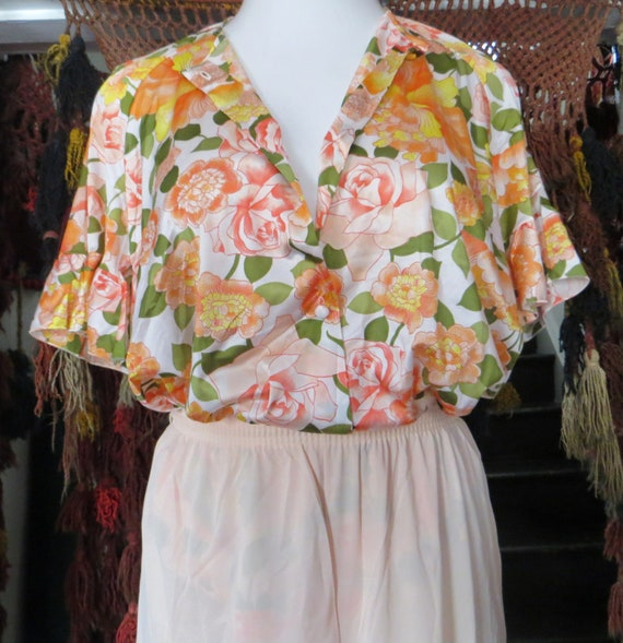 NOS Vanity Fair 50s/60s Floral Nylon Beach Pajama… - image 9