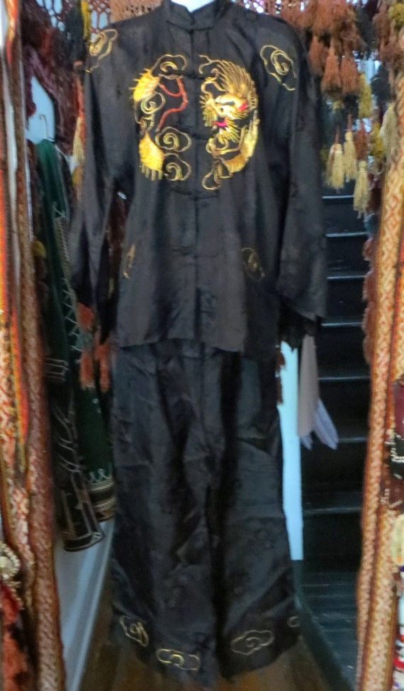 Rare 1930s/40s 3 Piece Japanese Silk Gold Embroid… - image 8