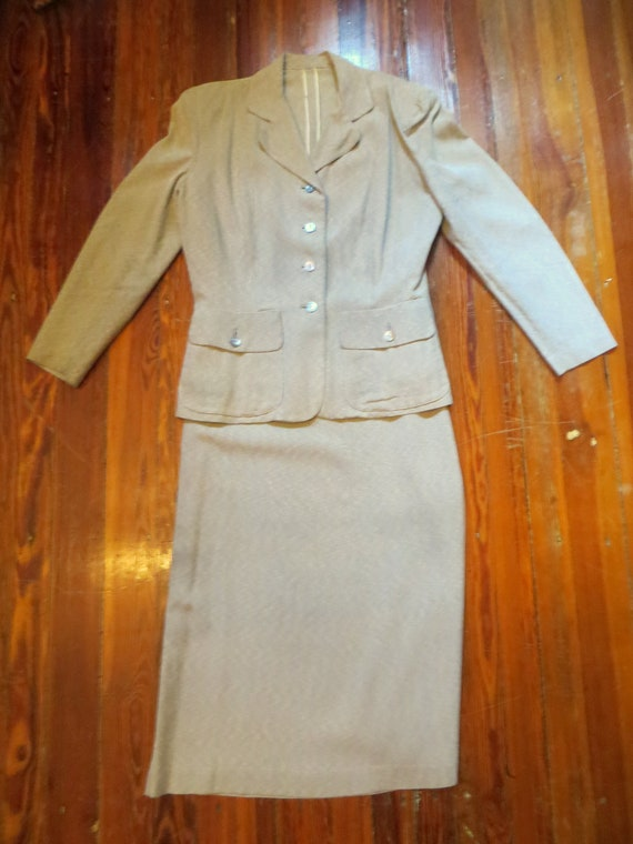Rare L Old Hollywood 40s Gray and White Striped Fi
