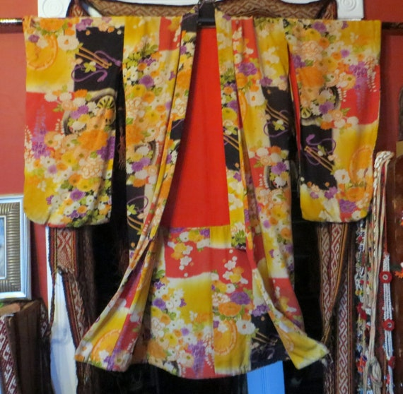 Outrageous 30s Colorful Reversible Kimono/Robe
