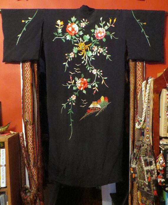 Silky Rayon 40s Hand Embroidered Kimono/Robe/Coat - image 2