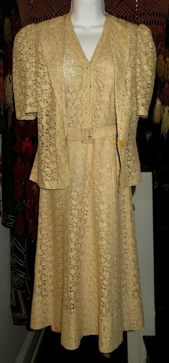 SALE 30s 3 Piece Ecru Lace Wedding Dress/Underslip