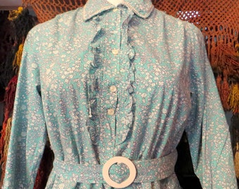 1910s NOS L Turquoise Cotton Day Dress