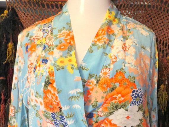 Stunning 30s/40s Japanese  Blue Floral Silk Kimono
