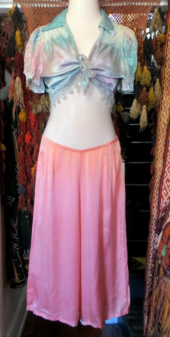 1920s Pink Silk Lounge/Beach Pajamas/Palazzo Styl… - image 1