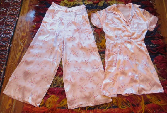SALE 30s Silk Floral Lingerie Set/Beach Pajamas