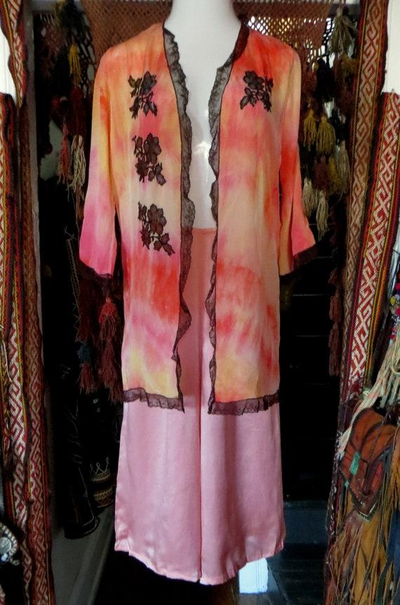1920s Pink Silk Lounge/Beach Pajamas/Palazzo Styl… - image 7
