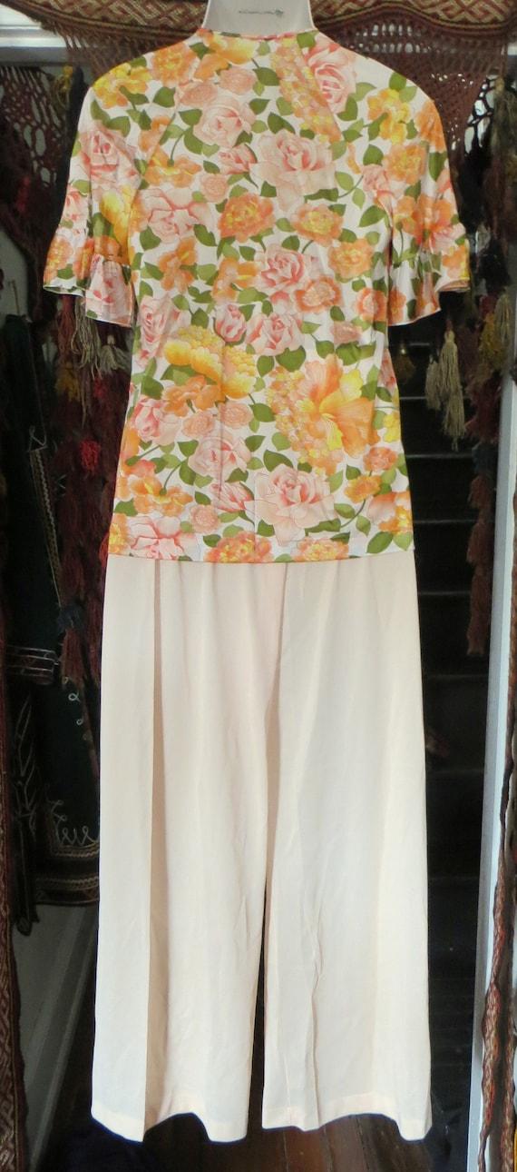NOS Vanity Fair 50s/60s Floral Nylon Beach Pajama… - image 5