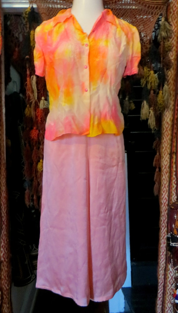 1920s Pink Silk Lounge/Beach Pajamas/Palazzo Styl… - image 10