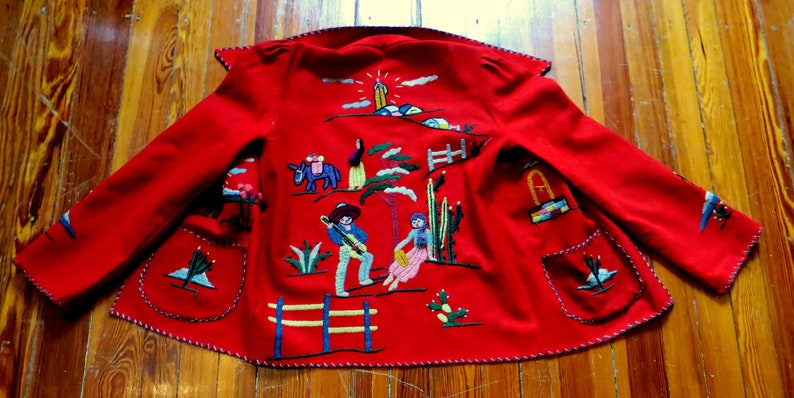 1940s50s Heavily EmbroideredFigured Red Wool Mexican Jacket
