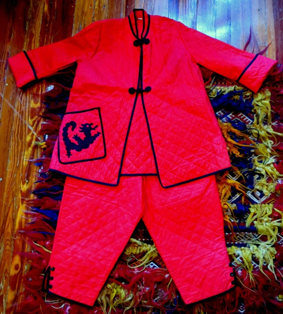 OOAK 50s Red Quilted Cotton Asian Pajama Set