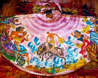SALE  Rare Larger 50s Hand Painted and Sequinned Mexican Circle Skirt