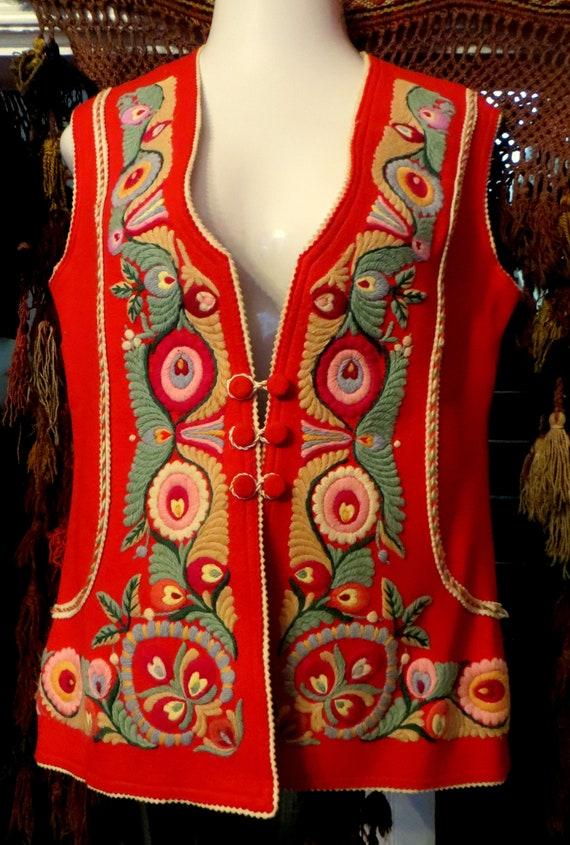 Red Hungarian Wool Folk Art Embroidered Vest