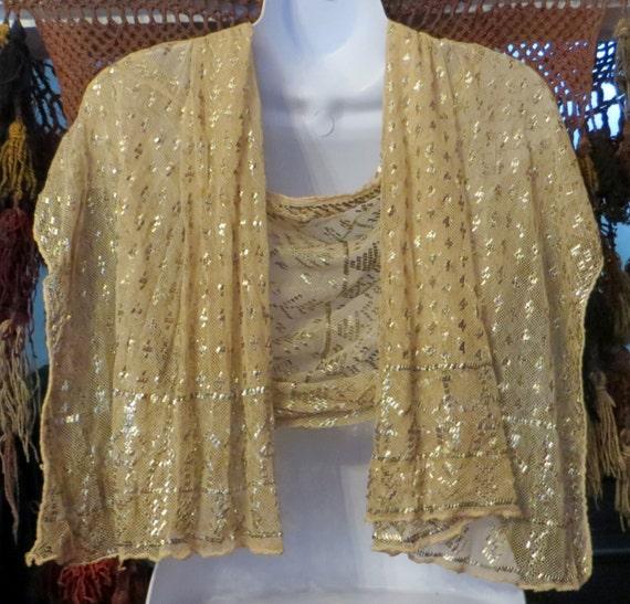 SALE 20s Golden Assuit Egyptian Shawl