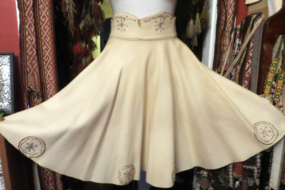 Fab 50s Ivory Embellished Wool Circle Skirt