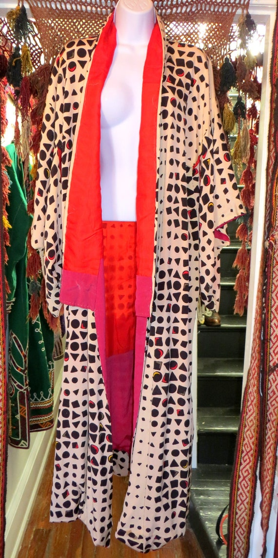 OOAK Art Deco/Geometric/Op Art Print Kimono 1930s/